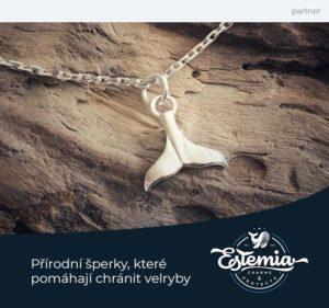 Stříbrný náhrdelník s přívěskem velrybí ploutve Estemia